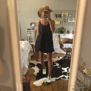 Free People Dresses - Blue Dress W/ Leather Straps // M // FP